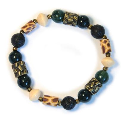 Giraffe pattern polymer clay bracelet with antique brass - BRE183F