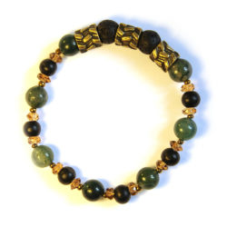 Antique brass feature highlighting moss agate and lava stone bracelet