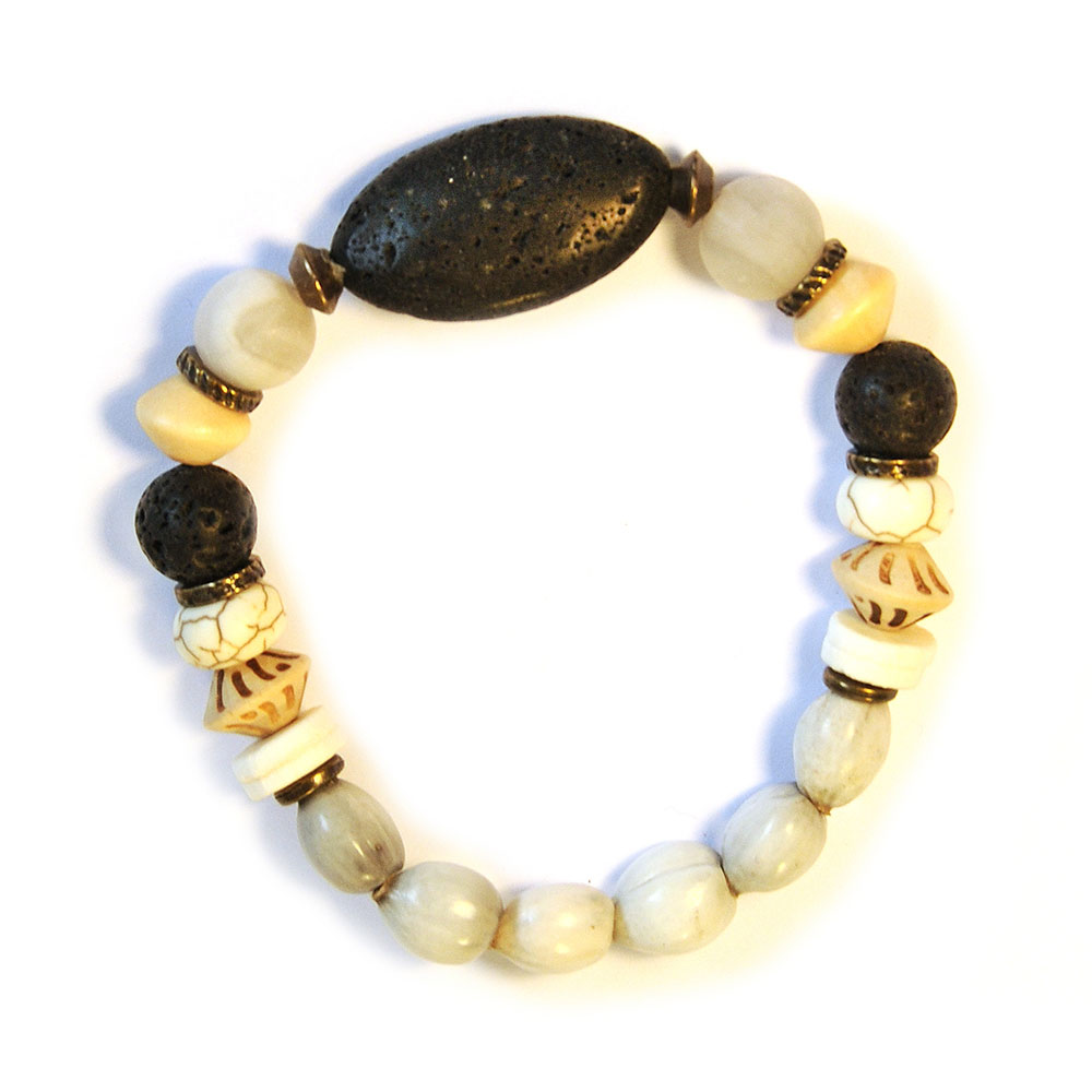 Grey Zulu seeds, ostrich eggshell and lava stone bracelet