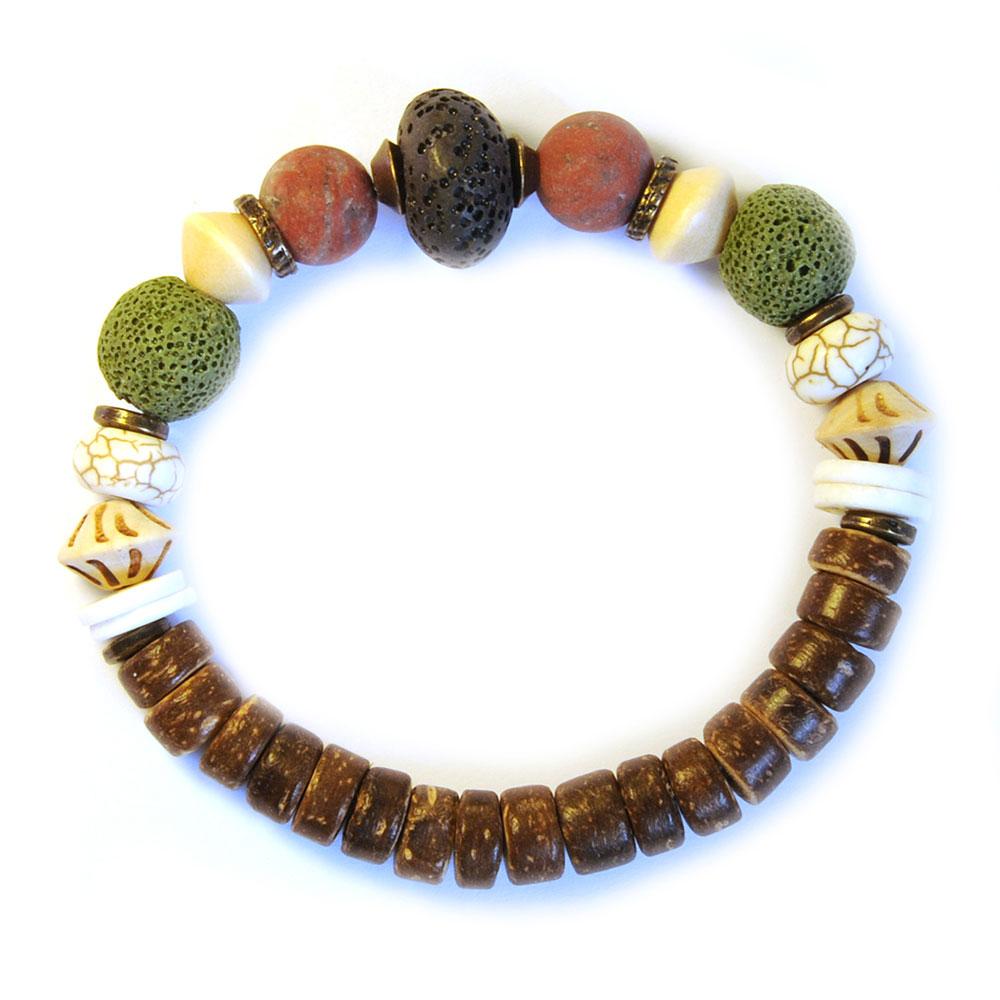 Stunning bracelet contrasting the lava stone, sesame jasper