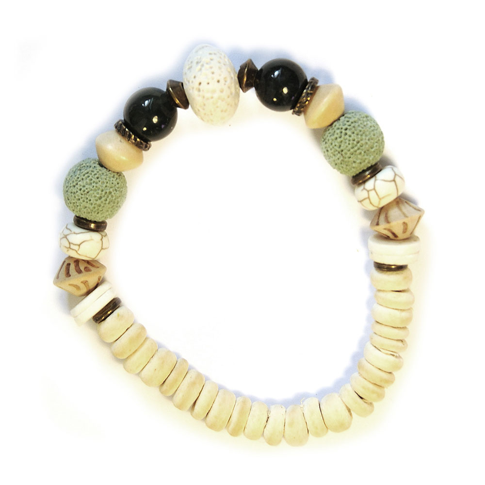 Bracelet highlighting the beautiful lava stone and moss agate textures