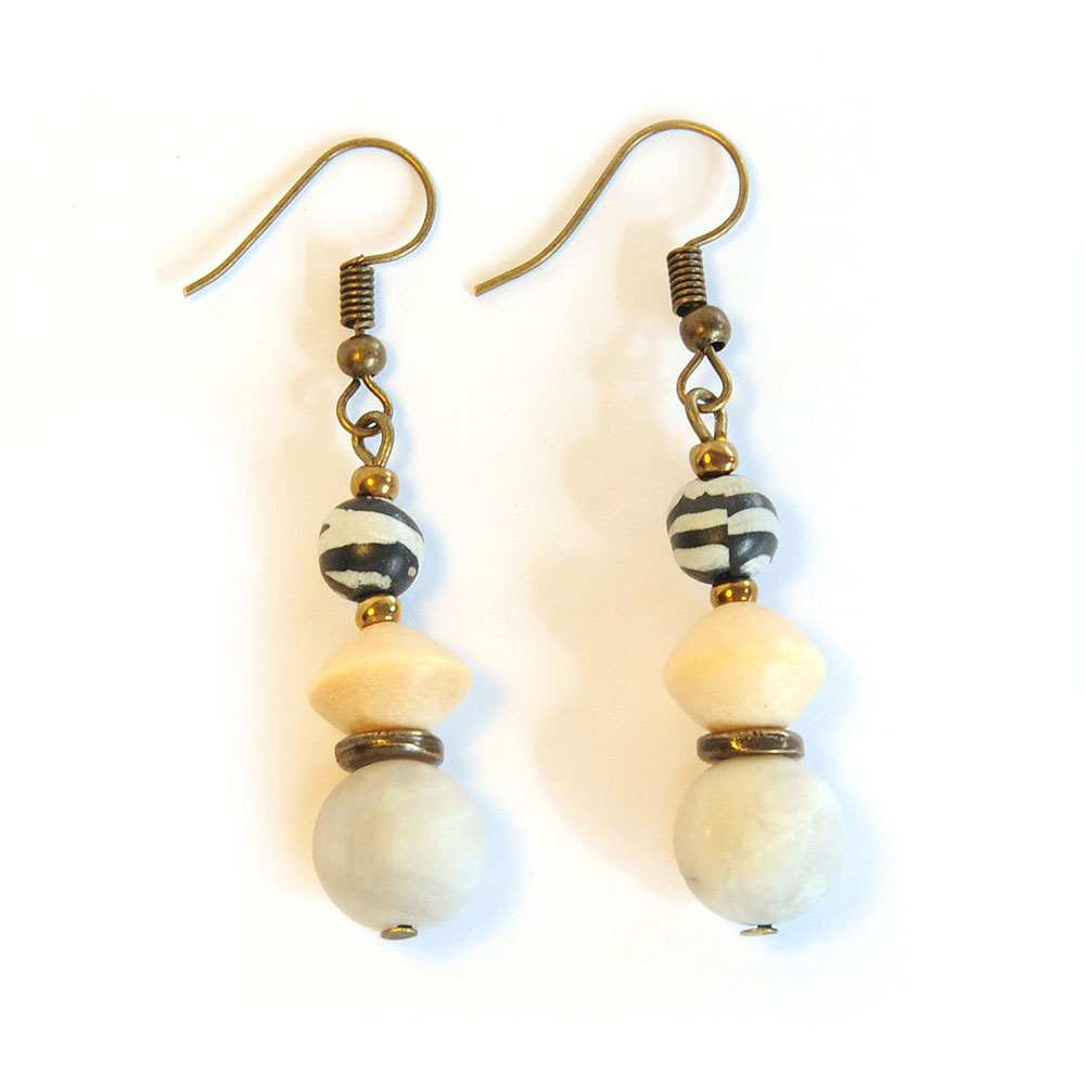 White agate and wood, with zebra polymer clay earrings - ERE181F