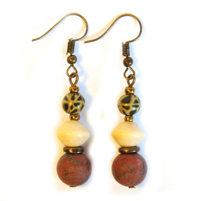 Sesame jasper with wood and leopard polymer clay earrings ERE182F