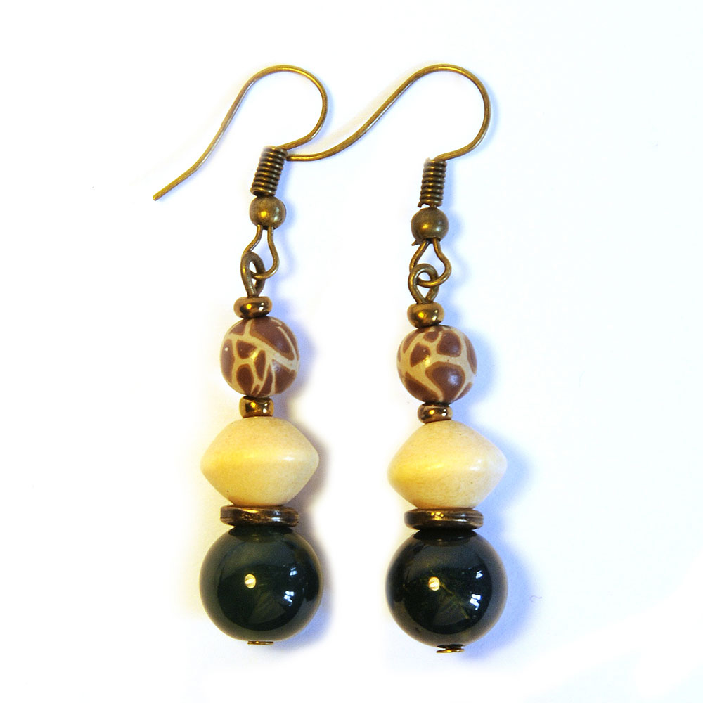 Moss agate, wood and giraffe pattern polymer clay earrings - ERE183F