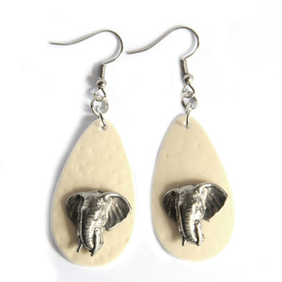 Ostrich eggshell with elephant heads earrings