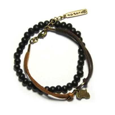 Black wood on elastic and brown faux suede bracelet set