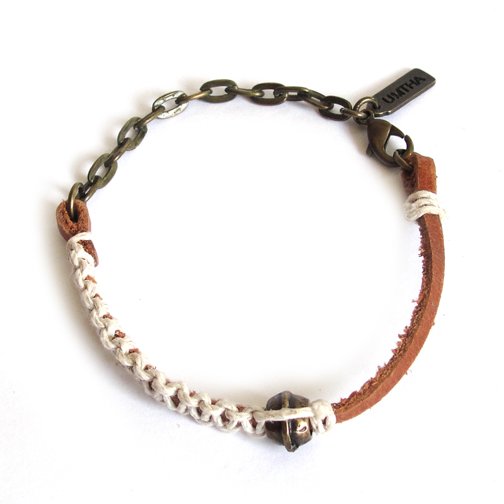 Tan leather and chain bracelet with hemp macrame detail