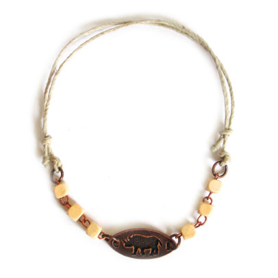 Adjustable hemp ankle bracelet, wooden beads with engraved antique copper (rhino)