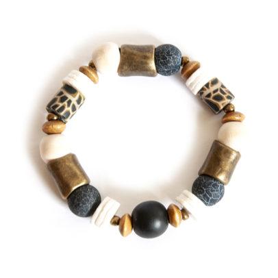Agate gemstones, ostrich eggshell and animal print polymer clay bracelet - BRAS09