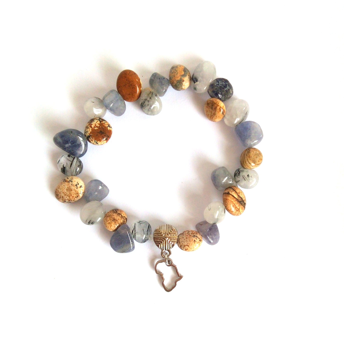Picture Jasper and Labradorite gemstone nuggets with Africa charm bracelet