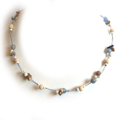 Blue agates, picture jasper and howlite gemstones, wood and glass bead necklace