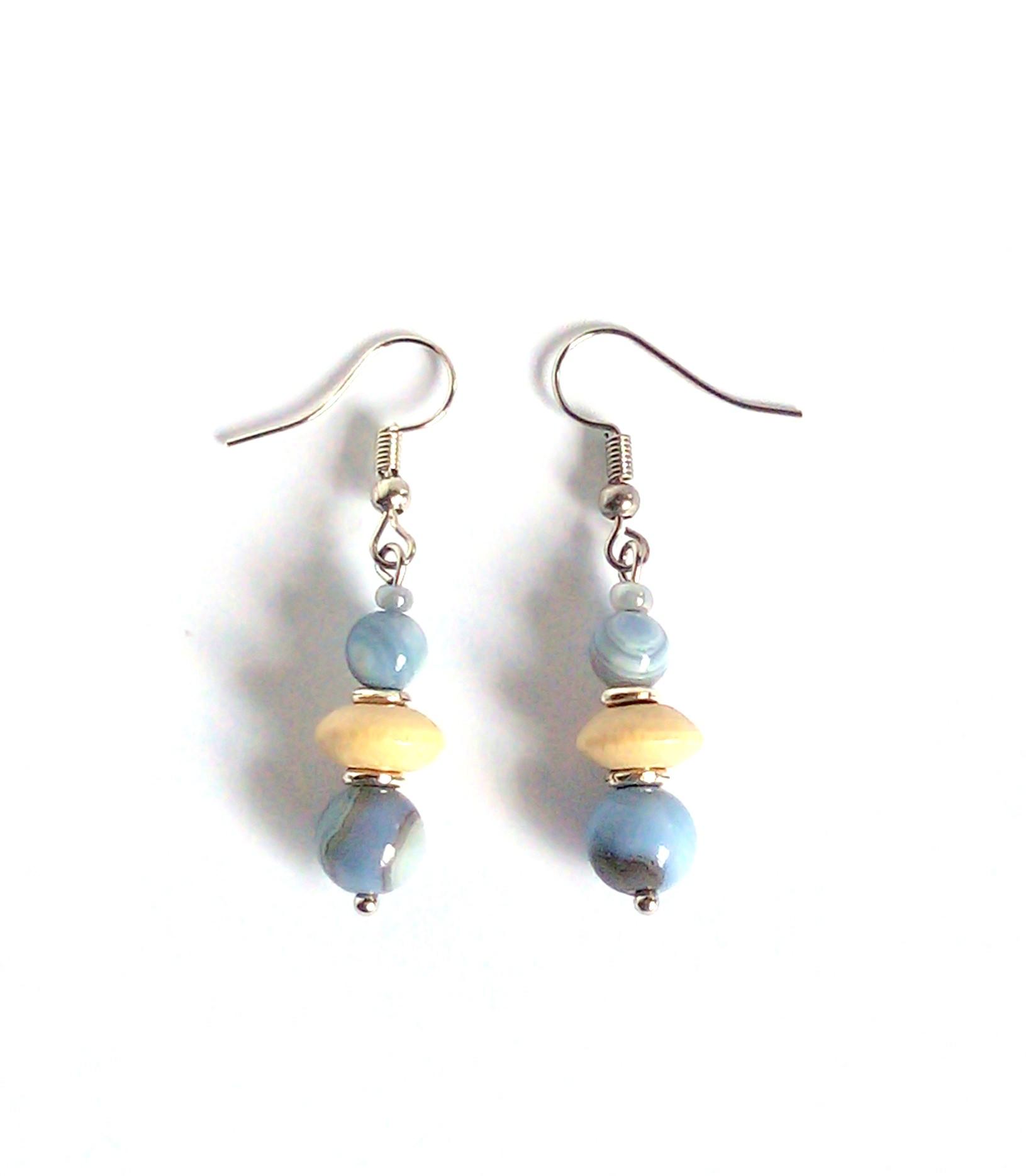 Blue/grey agates and cream wood earrings