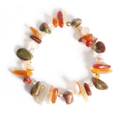 A spikey aloe feel bracelet with Carnelain, Ukanite and red Jasper