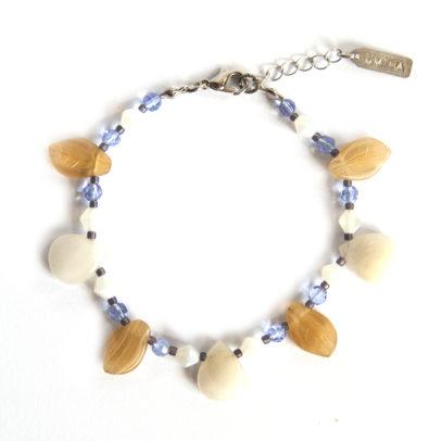 White agate petal shaped drop bracelet, with Czech glass leaves