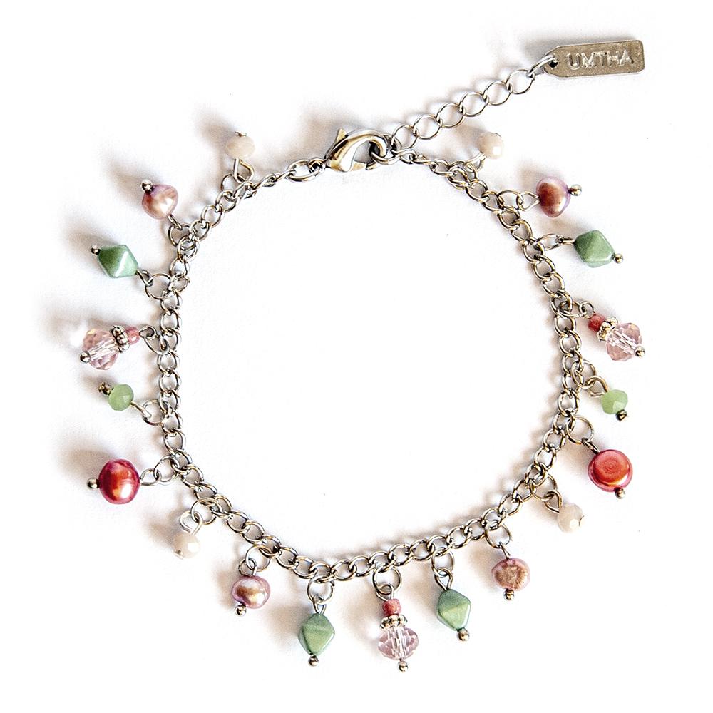 Protea inspired bead charm bracelet