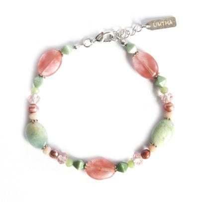 Cherry Quartz and Amazonite gemstone ovals, with freshwater pearls bracelet