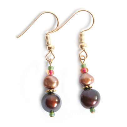 Two shades of freshwater pearl earrings