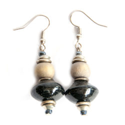Beautiful black paper bead earrings with light brown dye washed wood.