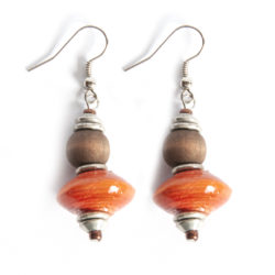Beautiful burnt orange paper bead earrings with dark brown dye washed wood.