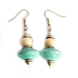 Hand crafted paper bead earrings. Aqua paper beads with cream dye washed wood.