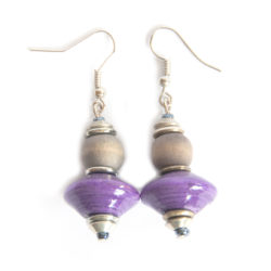 Handcrafted paper bead earring with dye washed wood. Purple and dye washed brown.