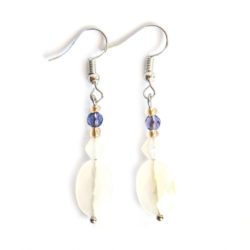 Facetted white agate earrings with Czech and other glass, with nickel free hooks.