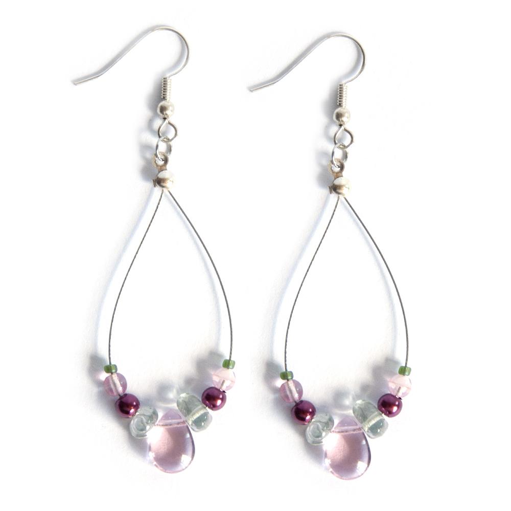 """Delicate """"petal drops"""" glass bead earrings"""