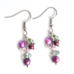 Freshwater and glass pearl earrings with Czech and other glass, clustered on fine chain.