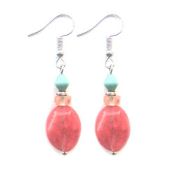 Striking facetted Cherry Quartz with Czech glass bead earrings.