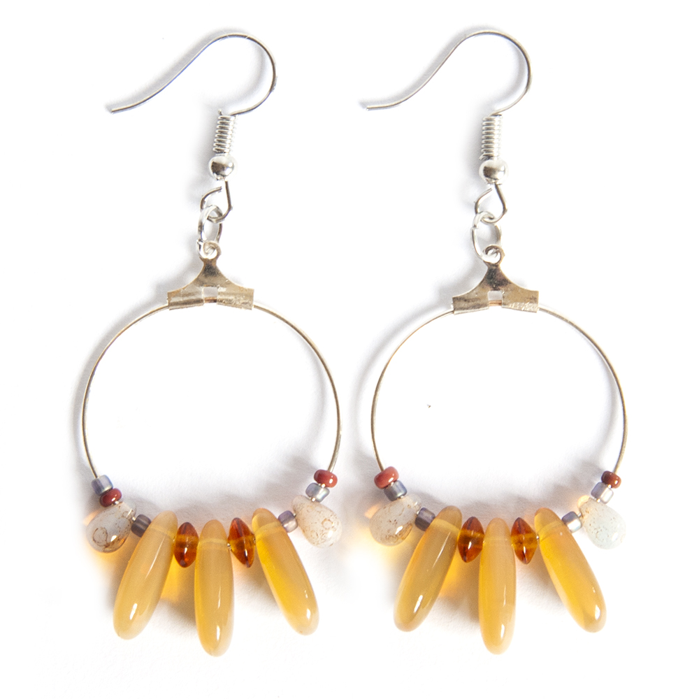 Stunning golden Czech glass earrings, on 25mm hoops