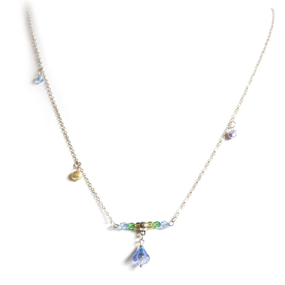 Long chain pendant, with Czech and other glass and freshwater pearls