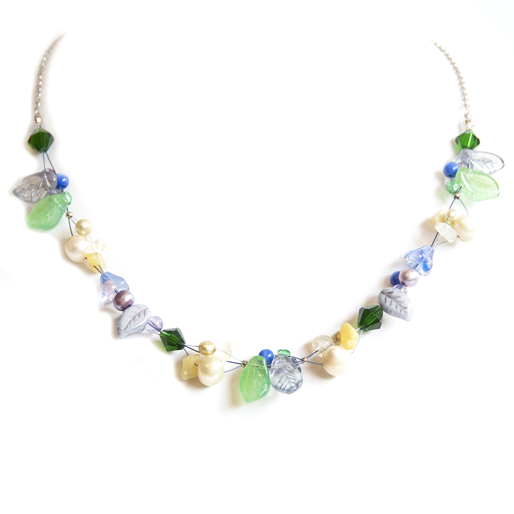 Necklace inspired by Agapanthus hues. Freshwater pearls, Czech and other glass, gemstone chips