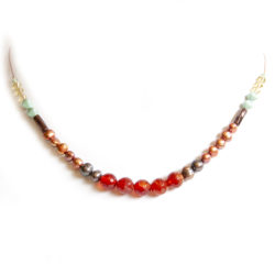 Facetted Carnelian freshwater pearls and Czech glass bead necklace