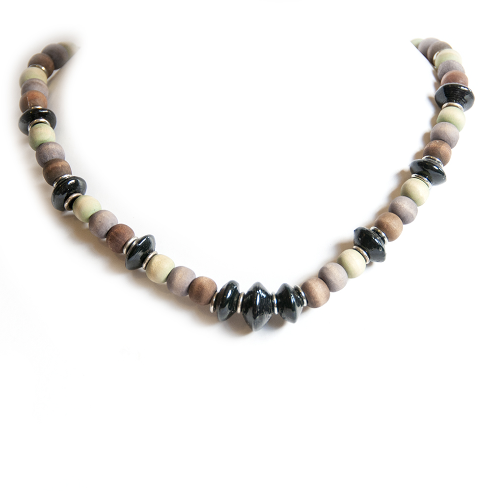 Paper beaded necklace with dye washed wood. Black, dye washed brown, purple and lime green.