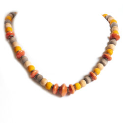 Beaded necklace featuring paper beads. Burnt orange, yellow, beige and brown.