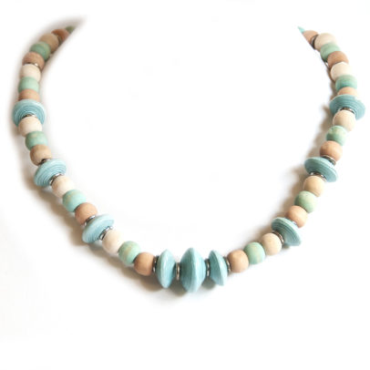 Paper beaded necklace with dye washed wood - NWE138