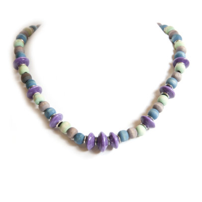 Paper beaded necklace with dye washed wood.Purple, blue, brown and aquamarine.