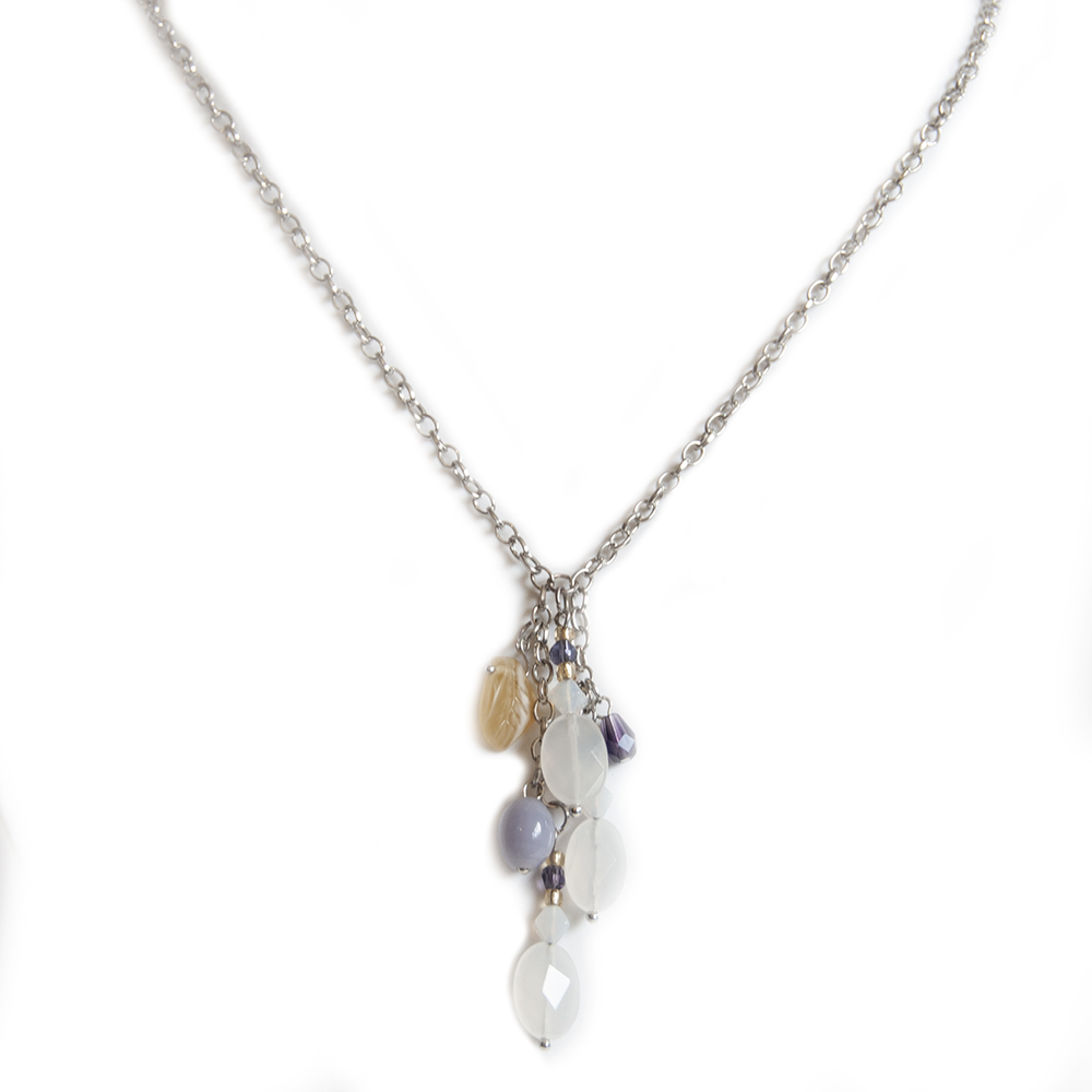 White agate, Czech and other glass beaded cluster pendant