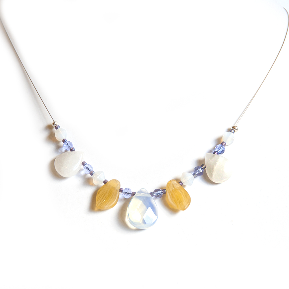 """Delicate """"petals"""" of opalite, white agate and Czech glass necklace"""