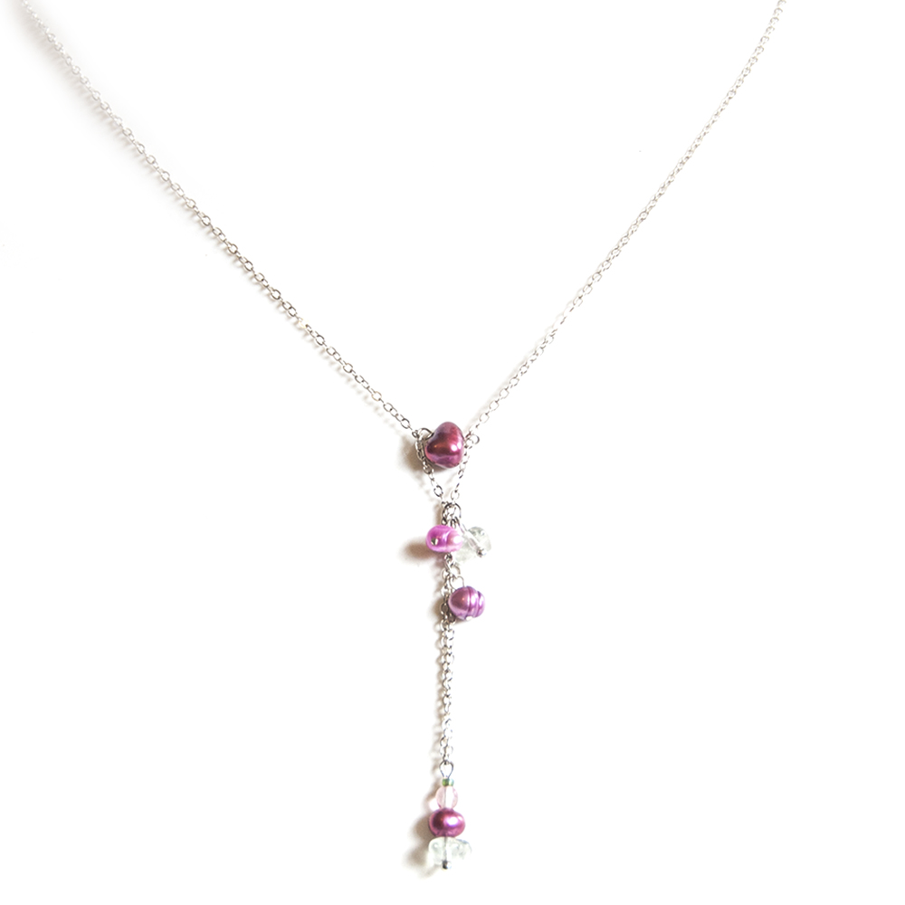 Delicate beaded pendant with freshwater pearls and Czech glass beads