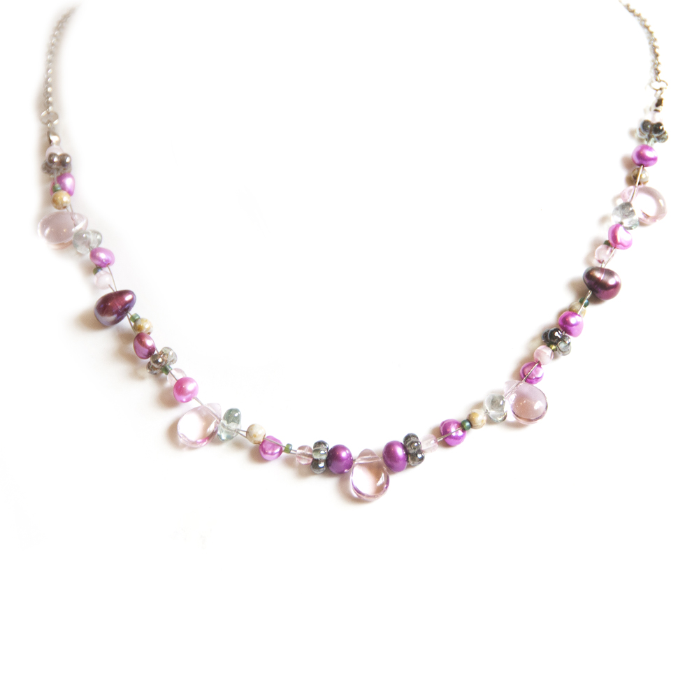 Pretty in pink! An assortment of freshwater and Czech glass bead necklace