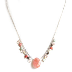 Facetted cherry quartz pendant, freshwater pearls, Czech and facetted glass necklace