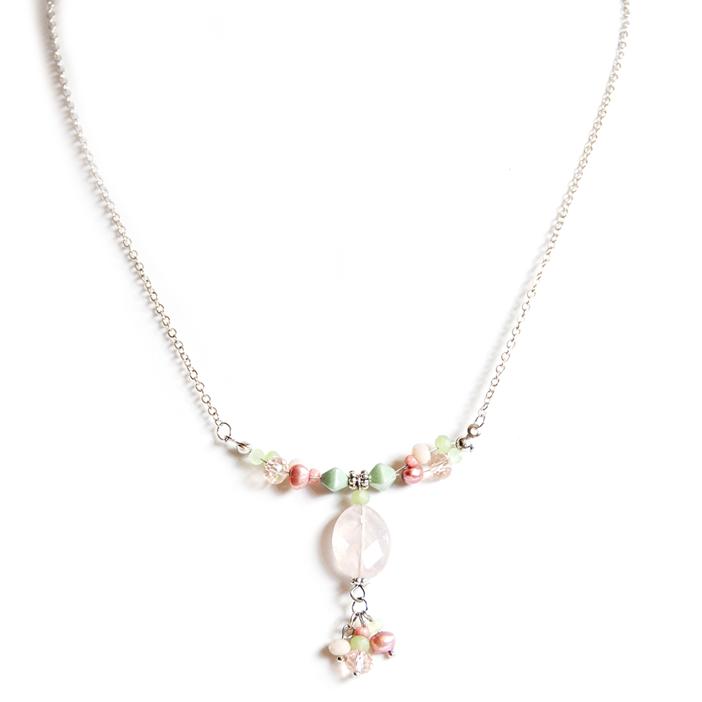 Facetted Rose Quartz with clustered freshwater pearl necklace