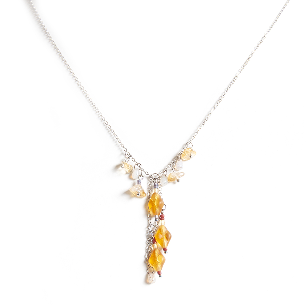 Delicate asymmetrical bead chain, with Citrine gemstone chips, and golden Czech glass