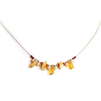 Citrine gemstone chips and golden Czech glass, on bronze nylon coated wire.